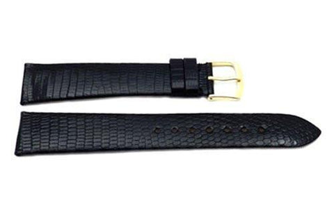 Hadley Roma Black Mens Genuine Java Lizard Watch Band
