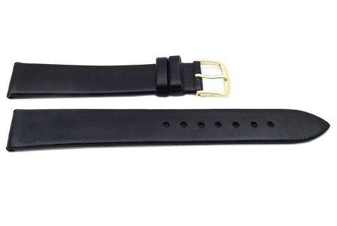 Hadley Roma Black Mens' Long Genuine Calfskin Flat Watch Band