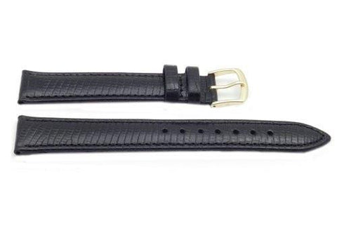 Hadley Roma Black Mens Lizard Grain Watch Band