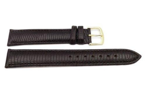 Hadley Roma Mens' Dark Brown Lizard Grain Long Light Padding Watch Strap