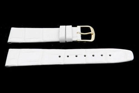 Hadley Roma White Ladies Alligator Grain Flat Watch Strap