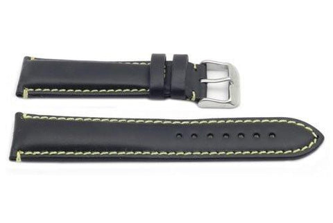 Hadley Roma Black and Yellow Mens Oil Tan Leather Watch Band