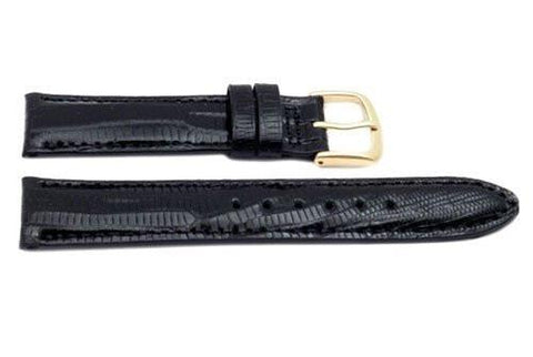 Hadley Roma Black Genuine Teju Lizard Hypo Allergenic 15mm Watch Band