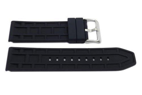 Black Silicone Track Design 24mm Watch Band