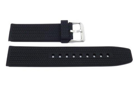 Black Silicone Cross Hatch Design 22mm Watch Strap