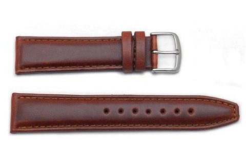 Hadley Roma Chestnut Mens Oil Tan Leather Long Watch Band