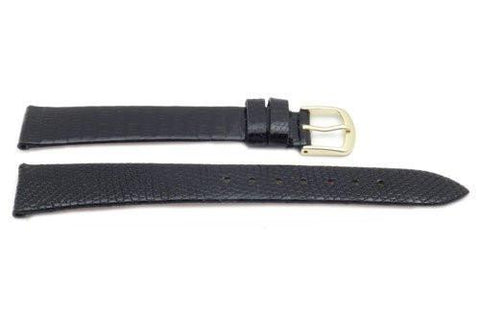 Hadley Roma Black Mens Genuine Lizard Short Watch Strap
