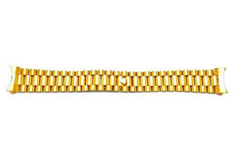 Hadley Roma 19mm Gold Tone Rolex President Style Solid Link Watch Bracelet