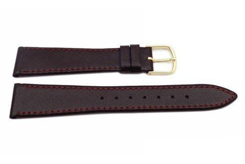 Hadley Roma Mens 18mm Burgundy Genuine Calfskin Watch Band (Clearance)