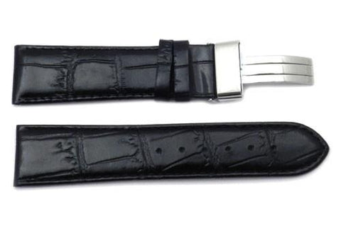 Genuine Textured Leather Pastel Alligator Grain Fold-Over Flip Clasp Watch Strap