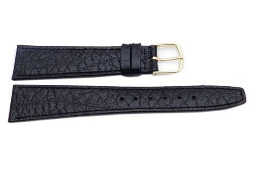 Hadley Roma Mens 20mm Black Genuine Leather Watch Band (Clearance)