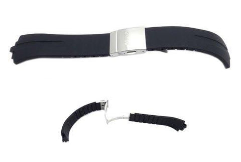 Seiko Black Rubber Men's 16mm Watch Band