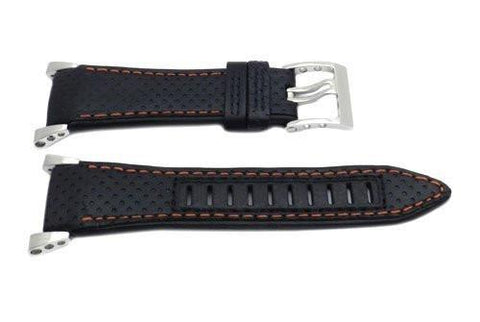 Seiko Black and Orange Stitching Sportura Watch Strap