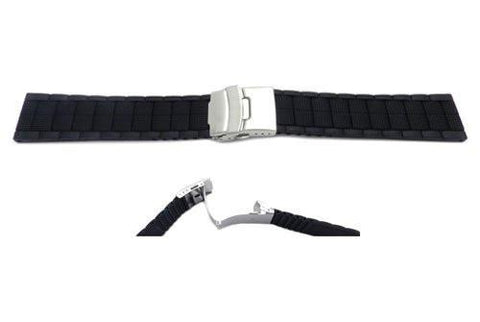 Black Silicone Link Style Tri-fold Clasp Watch Band