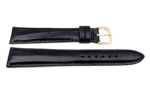 Hadley Roma Long Black Genuine Teju Lizard Hypo Allergenic Watch Band