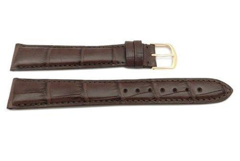 Hadley Roma Genuine Matte Alligator Cartier Style Long Brown Watch Band