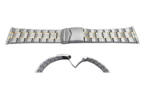 Hadley Roma Mens Dual Tone Wide Link Watch Bracelet