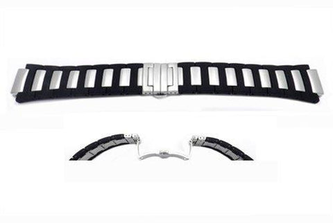 Citizen 24/17mm Stainless Steel With Black Polyurethane Watch Band