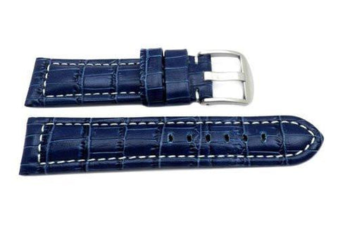 Genuine Italian Crocodile Grain Blue Leather Watch Strap