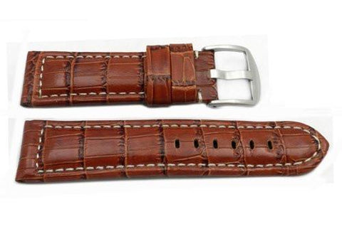 Brown Alligator Grain Leather Watch Band
