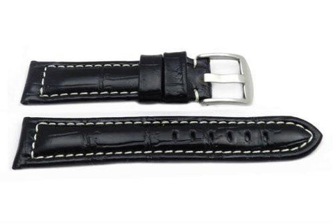 Black Alligator Grain Chrono Sport Design Watch Band