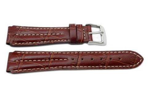 Brown Alligator Grain Chrono Sport Design Watch Strap