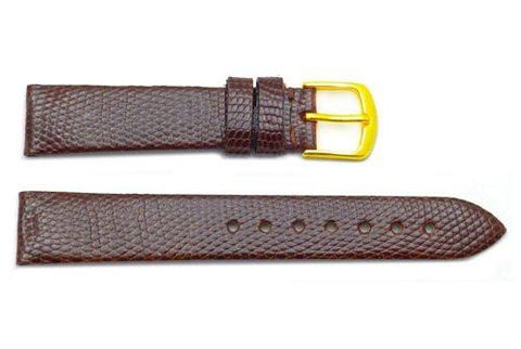 Hadley Roma Genuine Brown Java Lizard Leather Short Watch Band
