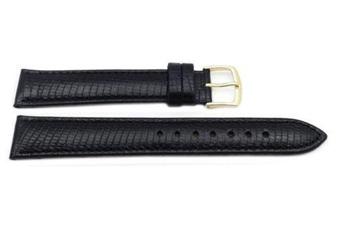 Hadley Roma Mens' Black Lizard Grain Long Light Padding Watch Strap