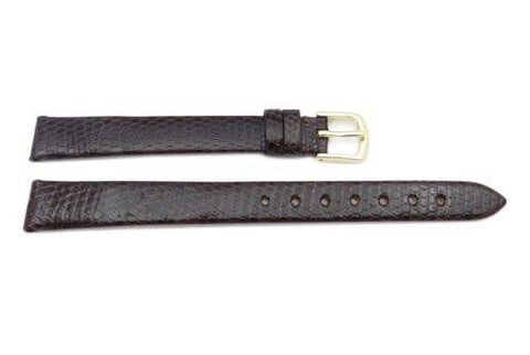 Hadley Roma Brown Genuine Round Grain Java Lizard Flat Ladies Long Watch Strap