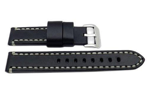 Hadley Roma Genuine Saddle Leather Black Extra Heavy Padded Watch Band