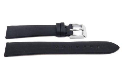 Hadley Roma Fashion Color Series Black Leather Satin Finish Flat Thin Watch Band
