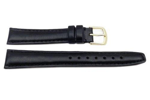 Hadley Roma Black Genuine Leather Hypo Allergenic Watch Band