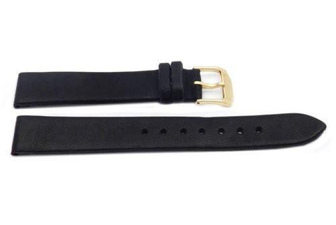 Hadley Roma Black Movado Style Genuine Calfskin Leather Watch Strap