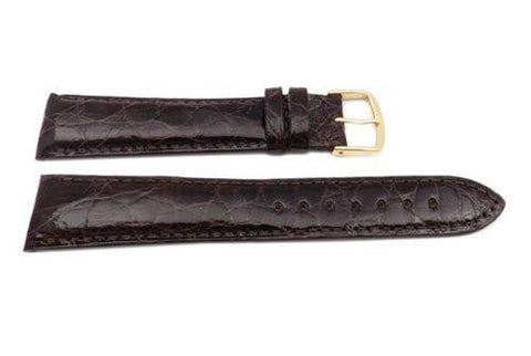 Hadley Roma Cartier Style Genuine Crocodile Brown Leather Long Watch Strap