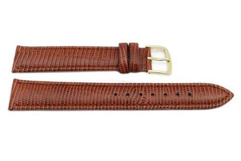 Hadley Roma Brown Long Mens' Lizard Grain Light Padding Watch Strap