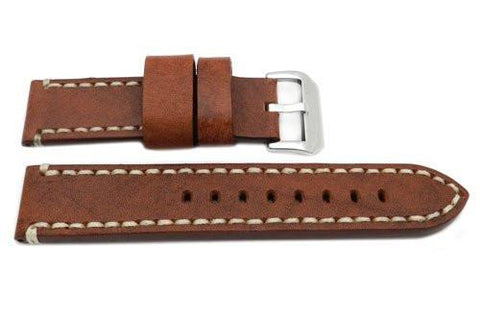 Hadley Roma Genuine Saddle Leather Tan Extra Heavy Padded Watch Strap
