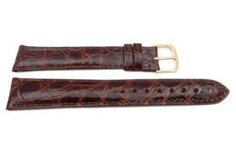 Hadley Roma Cartier Style Genuine Crocodile Honey Leather Long Watch Strap