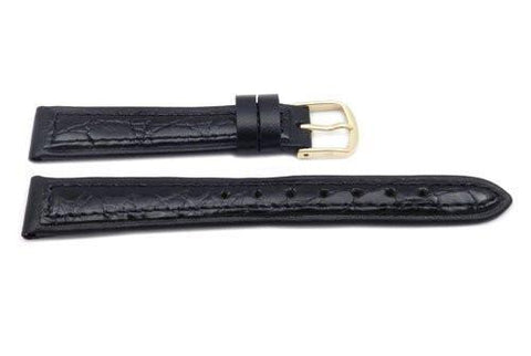 Hadley Roma Black Genuine Crocodile Thin Ladies Watch Strap