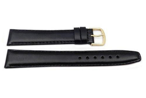 Hadley Roma Black 18mm Genuine Leather Hypo Allergenic Long Watch Band