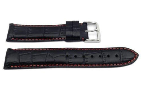 Hadley Roma Black with Red Stitching Heavy Pad Alligator Grain Watch Strap