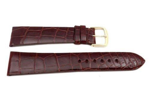 Hadley Roma Chestnut Glossy Patek Style Genuine Alligator Leather Watch Strap