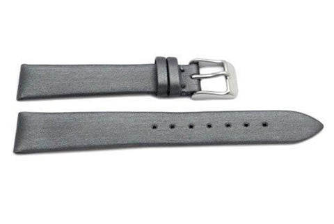 Hadley Roma Fashion Color Series Silver Leather Satin Finish Flat Thin Watch Strap