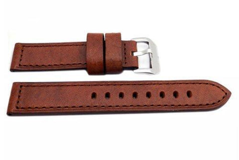 Hadley Roma Genuine Saddle Leather Tan Extra Heavy Padded Watch Band