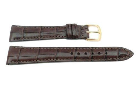 Hadley Roma Brown Rolex Style Genuine Alligator Square Grain Watch Strap