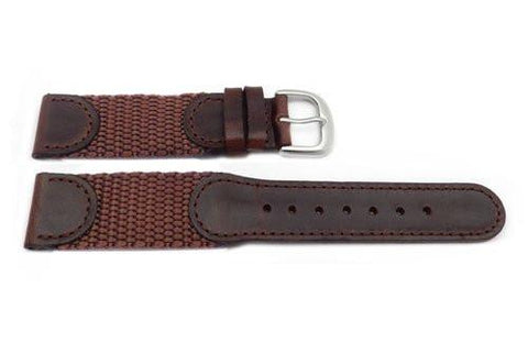 Hadley Roma Swiss Army Style Brown Leather and Nylon Watch Strap