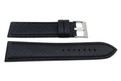 Hadley Roma Black Carbon Fiber Style With Matching Stitching Watch Strap