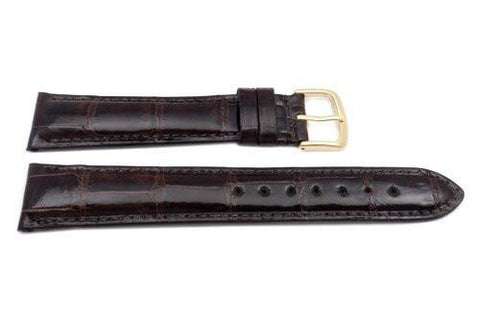 Hadley Roma Genuine Shiny Alligator Cartier Style Brown Watch Band