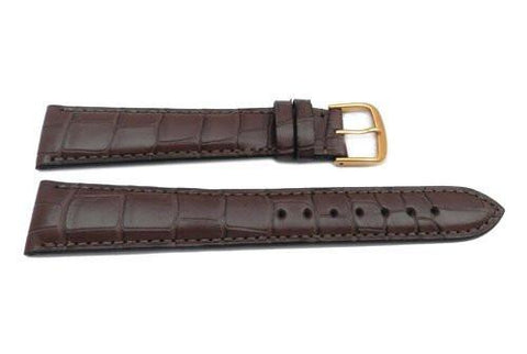 Hadley Roma Genuine Matte Alligator Cartier Style Long Chestnut Watch Band