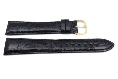 Hadley Roma Cartier Style Genuine Crocodile Black Leather Long Watch Strap