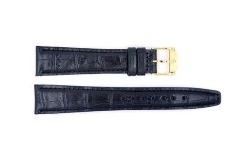 Genuine Movado Textured Leather Black Crocodile Grain 18mm Watch Strap